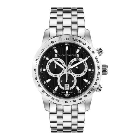 Chrono Diamond Unisex Black Stainless Steel Herrenuhr Theseus Watch