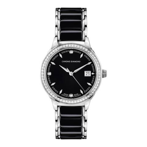 Chrono Diamond Womens Black Stainless Steel Damenuhr Thyrsa Watch