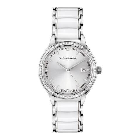 Chrono Diamond Women's Swiss White Damenuhr Thyrsa Watch