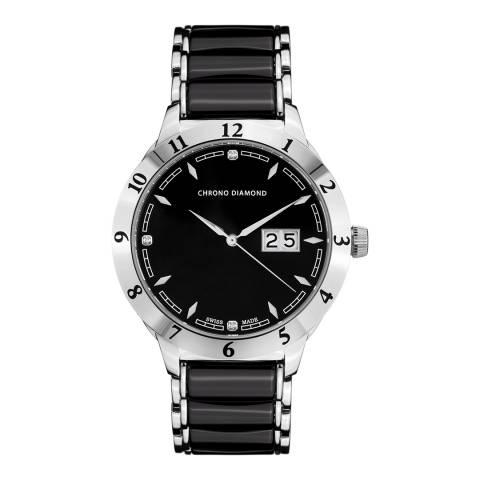 Chrono Diamond Men's Black/Silver Stainless Steel Herrenuhr Watch