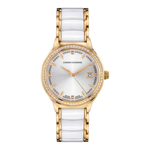 Chrono Diamond Women's White/Gold Stainless Steel Damenuhr Thyrsa Watch