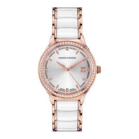 Chrono Diamond Women's Swiss White Damenuhr Thyrsa Watch