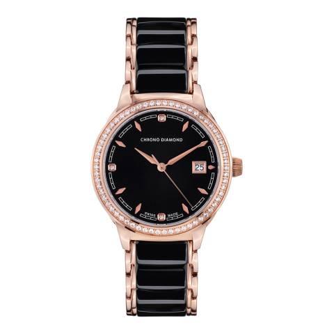 Chrono Diamond Women's Swiss Black Damenuhr Thyrsa Watch
