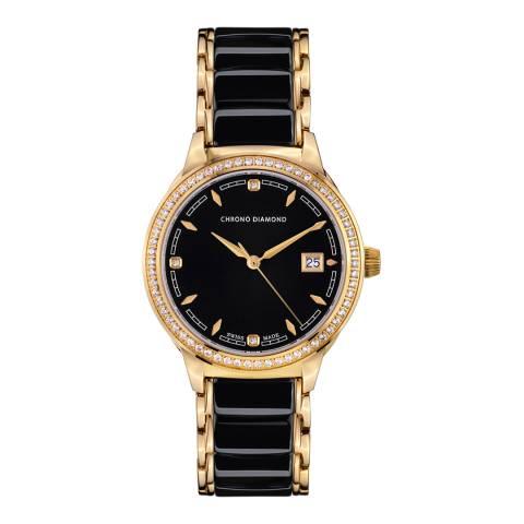 Chrono Diamond Women's Black/Gold Stainless Steel Damenuhr Thyrsa Watch