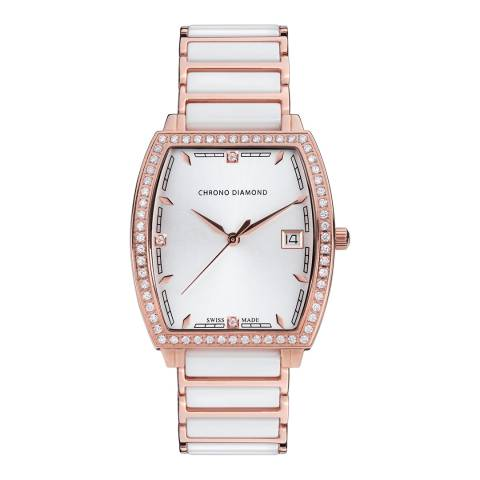 Chrono Diamond Womens Swiss White Leandra Watch