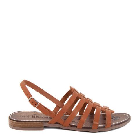 Dolce Amore Tan Leather Platform Wedge Sandals
