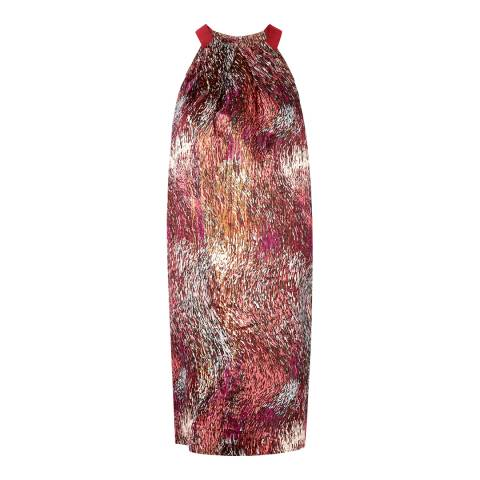 L K Bennett Red/Multi Yelena Silk Blend Dress