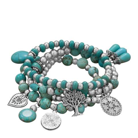 Alexa by Liv Oliver Turquoise/Silver Charm Bracelet
