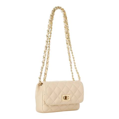 Pelletteria Lisa Cream Leather Quilted Clutch Bag