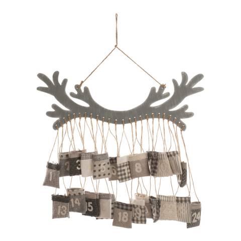 Festive Grey/White Hanging Wooden Antler Advent Calendar 55cm