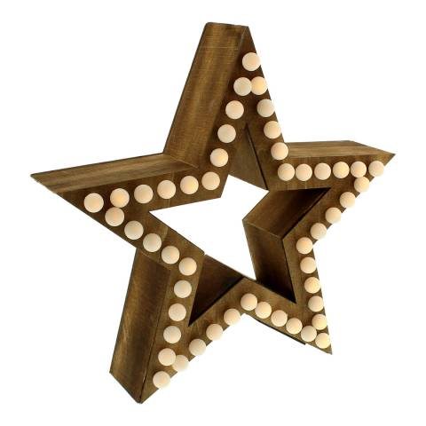Festive Brown Light Up Wooden Star 35cm