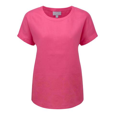 Pure Collection Fuchsia Pink Embroidered Linen Top