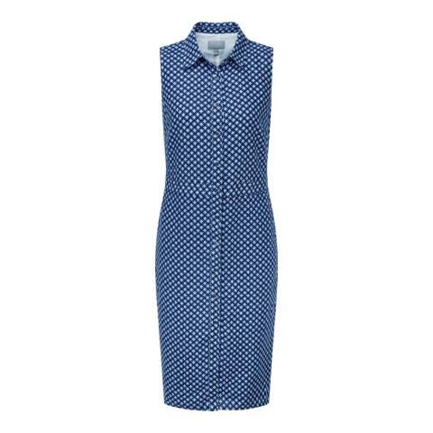 Pure Collection Navy Geo Linen Shirt Dress
