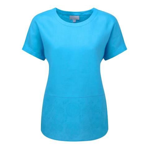 Pure Collection Azure Blue Embroidered Linen Top