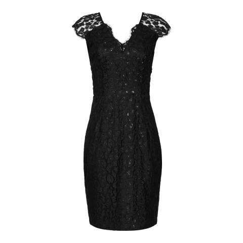 Reiss Black Mayra Leopard Lace Dress
