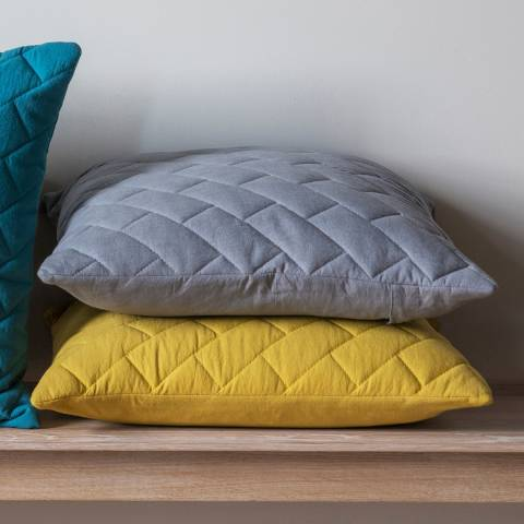 Gallery Chartreuse Cotton Bricks Quilted Cushion 45 x 45cm