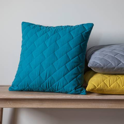 Gallery Teal Cotton Bricks Quilted Cushion 45 x 45cm