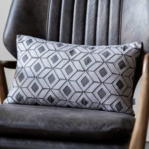 Gallery Grey Cotton Hagen Geo Cut-out Cushion