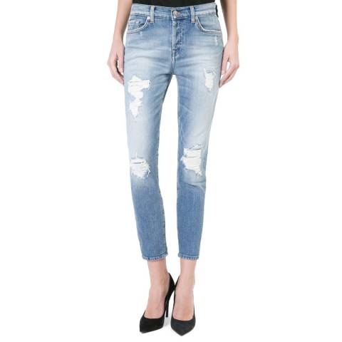 7 For All Mankind Light Blue Josie Crop Raw Edge Boyfriend Jeans