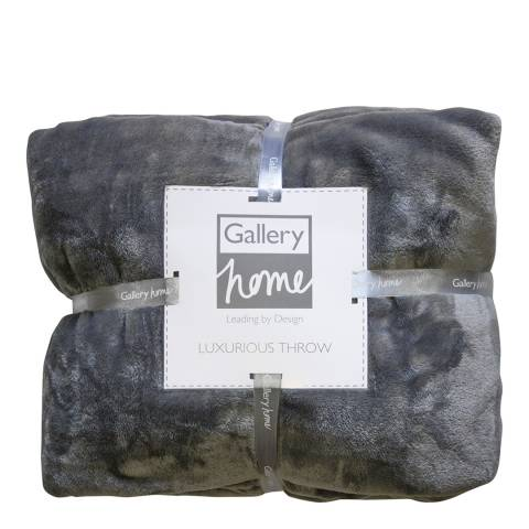 Gallery Mid Grey Flannel Fleece Throw 140x180cm