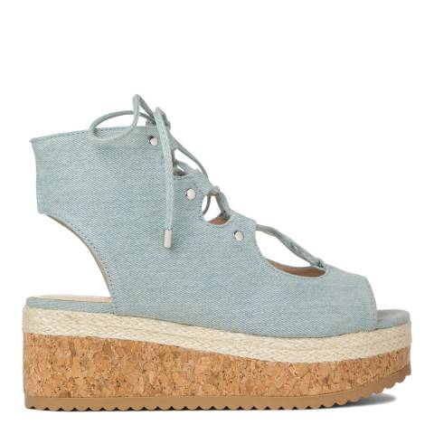 KG Kurt Geiger Denim Benny Flatform Lace Up Espadrilles