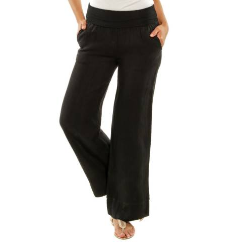 LE MONDE DU LIN Black Valencia Loose Linen Trousers