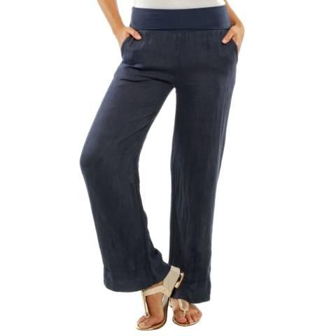 Toutes belles en LIN Navy Valencia Loose Linen Trousers