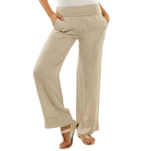 Toutes belles en LIN Beige Valencia Loose Linen Trousers