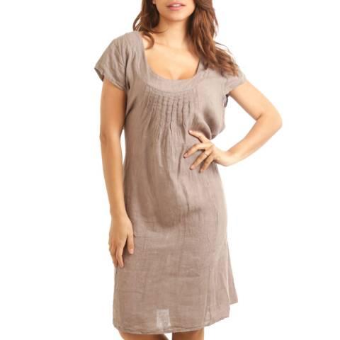 LE MONDE DU LIN Taupe Flattering Linen Dress
