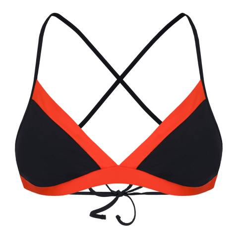 Amanda Wakeley Black/Papaya Colour Block Bikini Top