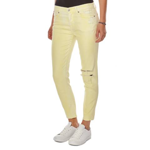 7 For All Mankind Yellow Josie Cropped Stretch Skinny Jeans