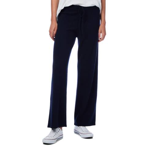 Scott & Scott London Navy Wide Leg Cashmere Trousers