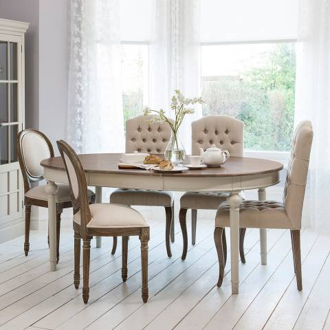 Cool Grey Maison Round Extending Dining Set With 4 Chairs