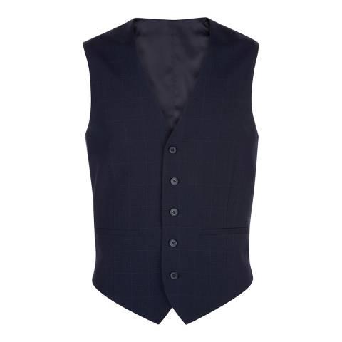 Jaeger Ink Navy Glen Check Wool Blend Waistcoat