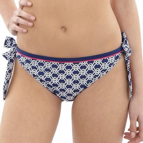 Cleo Swimwear Blue/White Lucille Tie Side Bikini Briefs