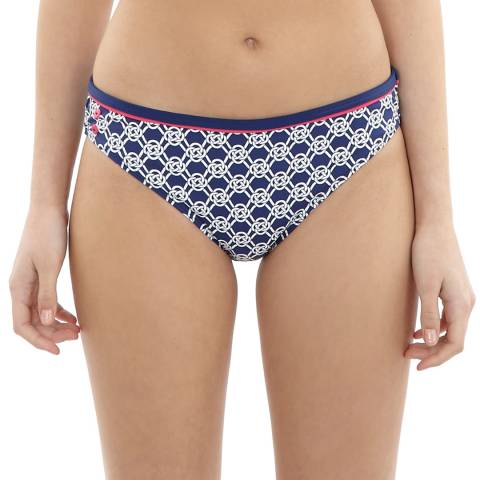 Cleo Swimwear Blue/White Lucille Classic Bikini Briefs