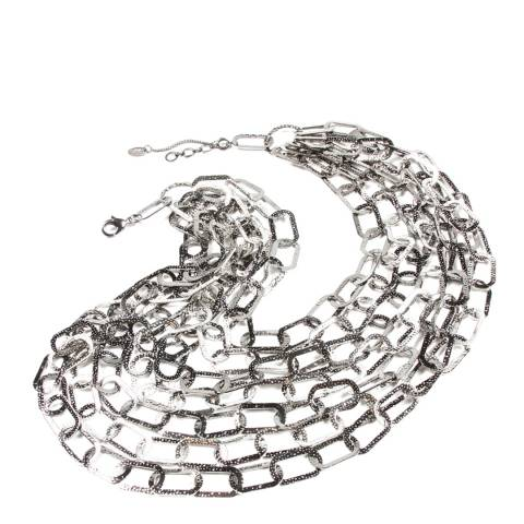 Amrita Singh Silver/Gunmetal Seven Tier Chain Necklace
