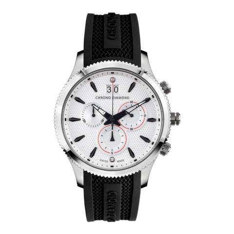 Chrono Diamond Men's Black/Silver Silicone Strap Herrenuhr Okeanos Watch