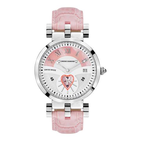 Chrono Diamond Women's Pink/Silver Stainless Steel/Leather Damenuhr Feronia Watch