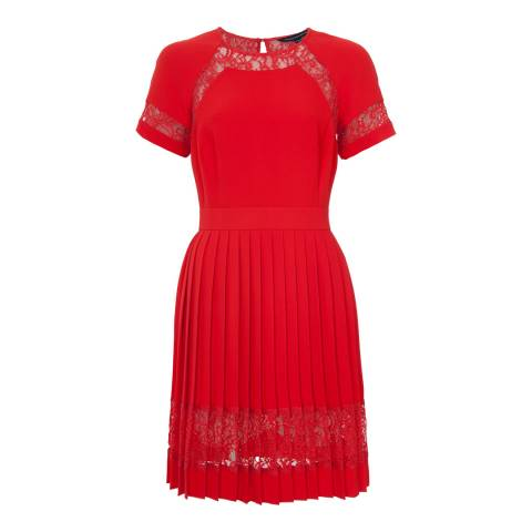 French Connection Riot Red Arrow Lace Dress