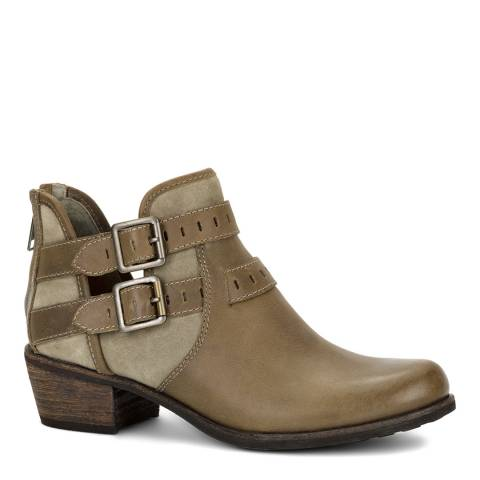 UGG Taupe Leather Patsy Sheepskin Lined Ankle Boots