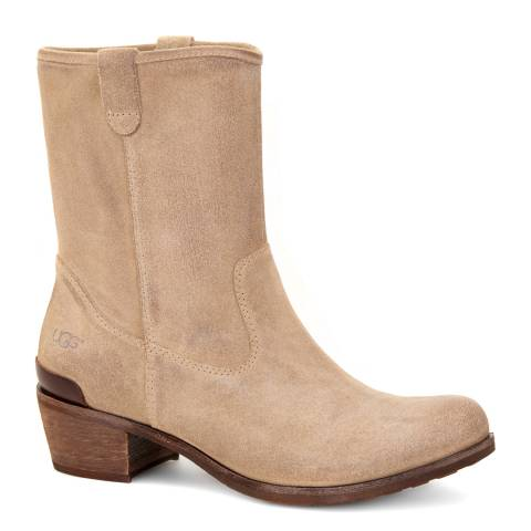 UGG Taupe Suede Rohen Sheepskin Lined Heeled Boots