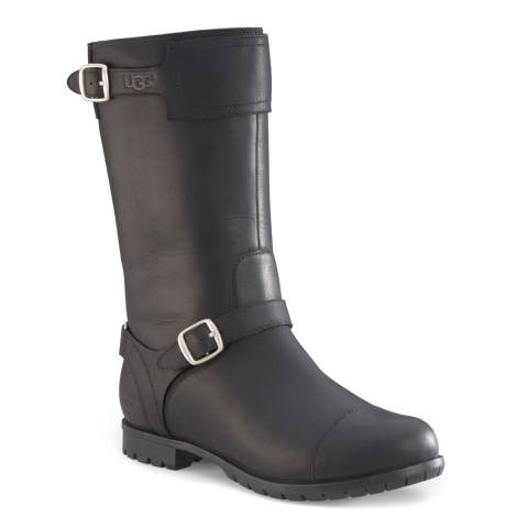 UGG Black Leather Gershwin II Sheepskin Lined Long Boots