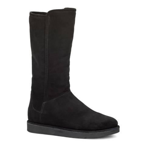 UGG Black Suede/Merino Sheepskin Abree Boots