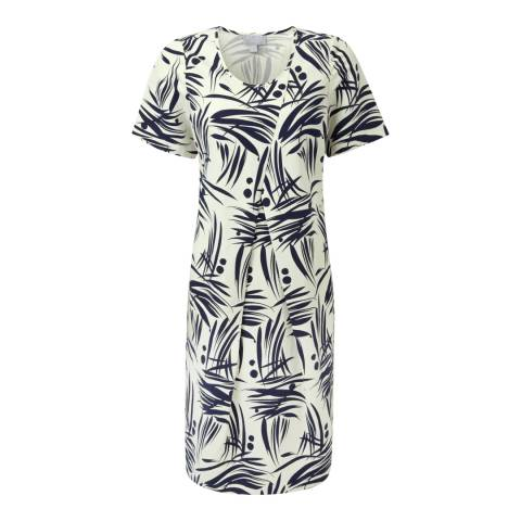 Pure Collection Navy Bamboo Print Silk/Linen Cocoon Dress