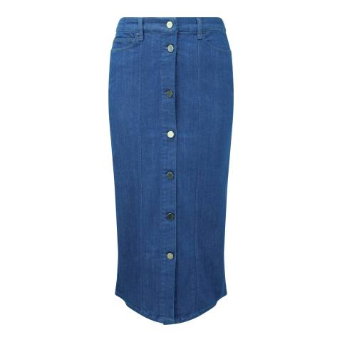 Pure Collection Heritage Blue Denim Midi Skirt