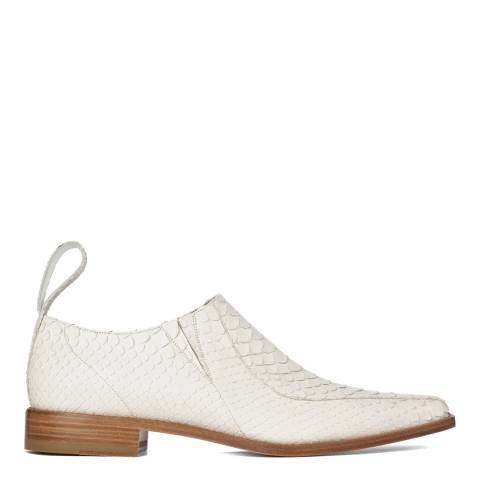 Joseph White Leather Cowboy Shoes