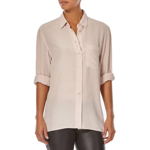 Joseph Pale Pink Blair Buttoned Matte Silk Blouse