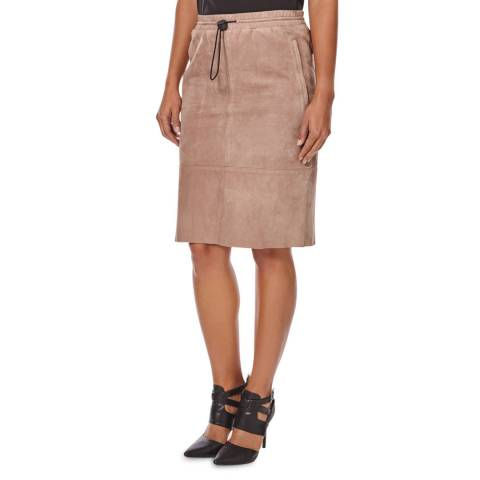 Joseph Taupe Margo Suede Leather Skirt