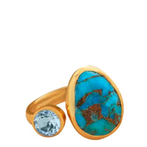 Liv Oliver Gold Plated Blue Topaz and Turquoise Ring